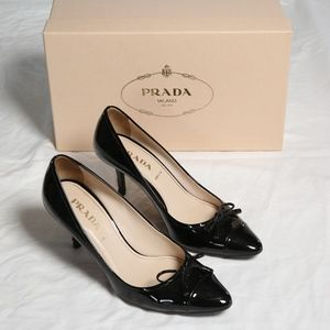 Authentic Prada Vernice Nero Black Heels 36.5